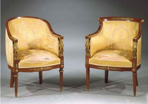 (2)  Two French gilt-metal mou
