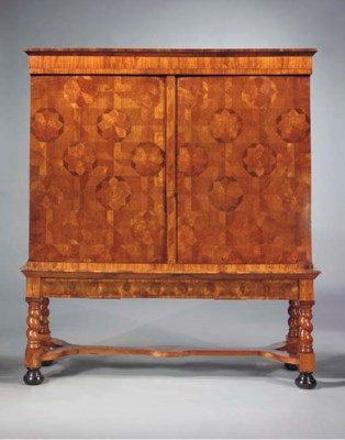 A Dutch oister-veneered, walnu