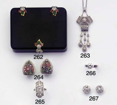 A DIAMOND AND ENAMEL PENDANT