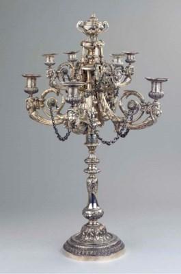 A German silver candelabrum