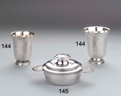 (2) Two French silver beakers