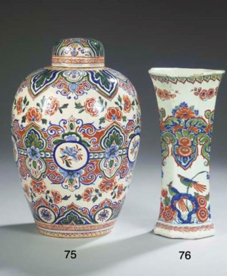 (5)  A Delftware polychrome fl
