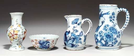 (4)  Three Dutch Delft wares a