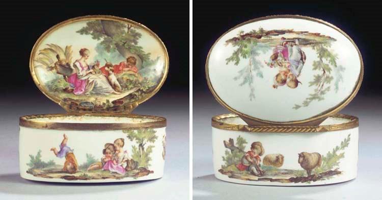 (2) A Meissen porcelain gilt m