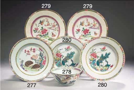 A famille rose 'quail'plate