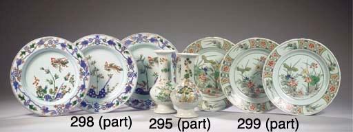 A set of six famille verte pla