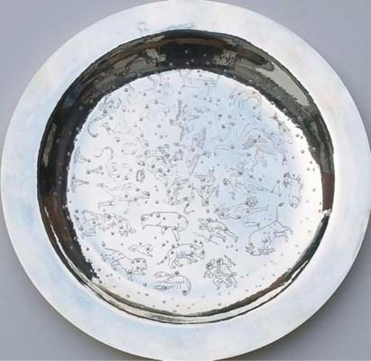 A German silver zodiac dish