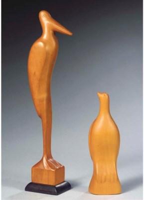 (2) A wooden figure of a crane