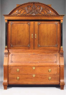 A Dutch oak bureau cabinet