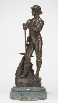 A FRENCH BRONZE FIGURE OF A MI