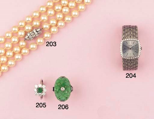 A CULTURED PEARL AND DIAMOND N