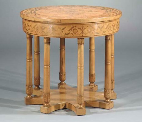 A FRUITWOOD AND MARQUETRY CENT