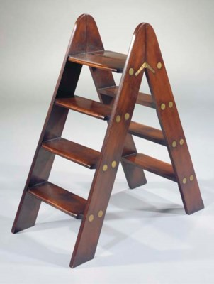 A PAIR OF MAHOGANY FOLDING LIB