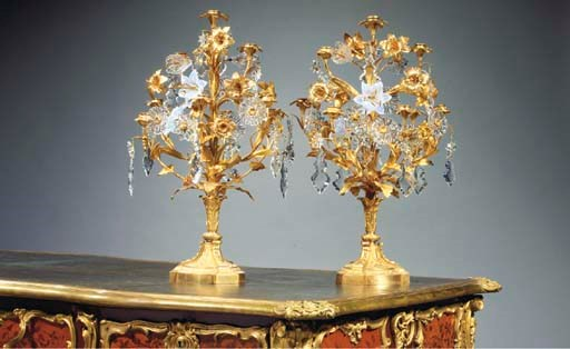 (2)  A PAIR OF ORMOLU AND PRES