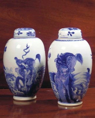 (4) A FINE PAIR OF CHINESE BLU