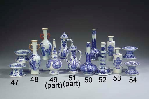 A blue and white candlestick