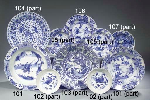 Three blue and white 'Kraak po