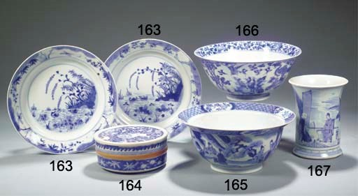 A pair of blue and white plate