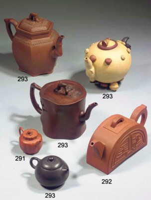 Five Yixing teapots and covers