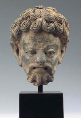 a gandhara clay head of a man