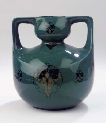 A two-handled glazed pottery v
