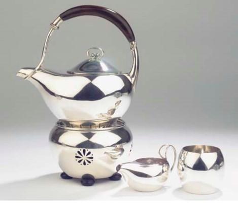 A German silver four-piece tea