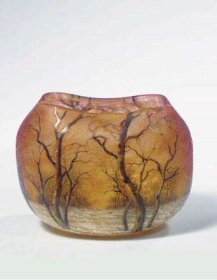 An enamelled glass vase