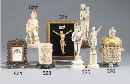 THREE VARIOUS CARVED IVORY FIG