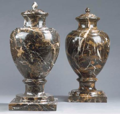 A pair of marble vases