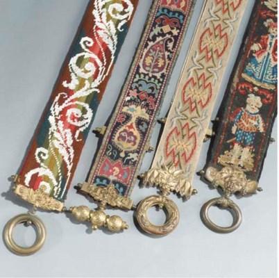 (4)  An embroidered and gilt-b