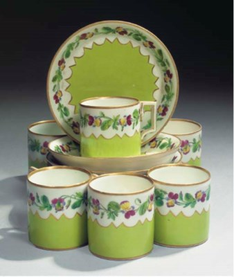 A set of six Vienna porcelain