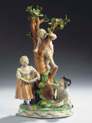 A Vienna porcelain group of ch