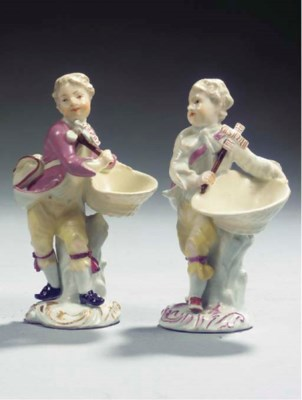 Two Meissen porcelain putto sa