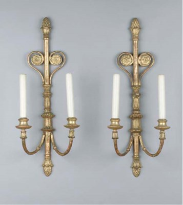 A pair of giltwood two-light w