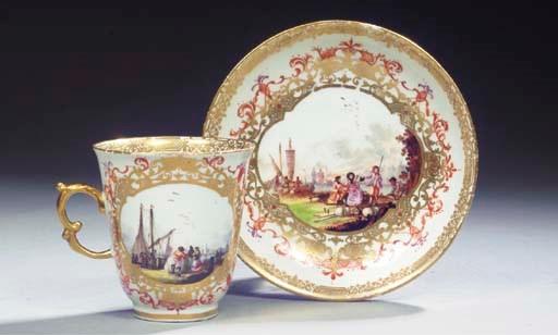 A Meissen porcelain gilt choco