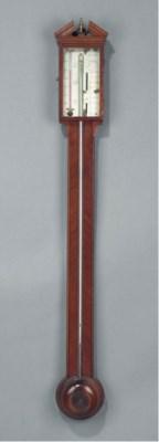 An English mahogany stick baro