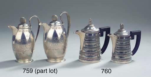Two Austrian silver teapots an