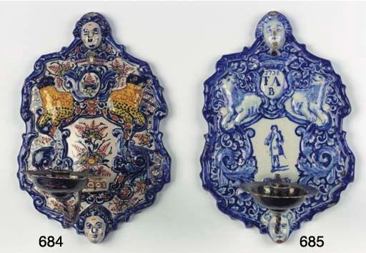 (2) A Dutch Delft blue and whi
