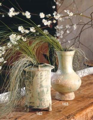 A GREEN-GLAZED POTTERY JAR, FA