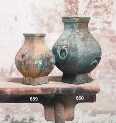 A BRONZE ARCHAIC VESSEL AND CO