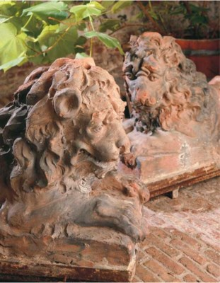 A PAIR OF FRENCH TERRACOTTA MO