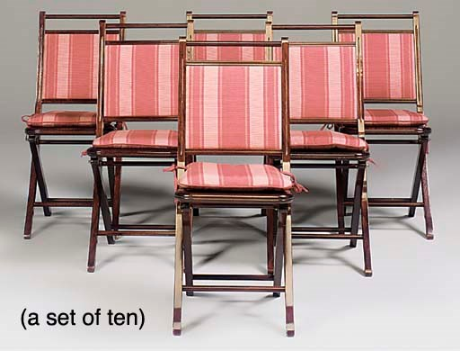 A SET OF TEN MAHOGANY FOLDING