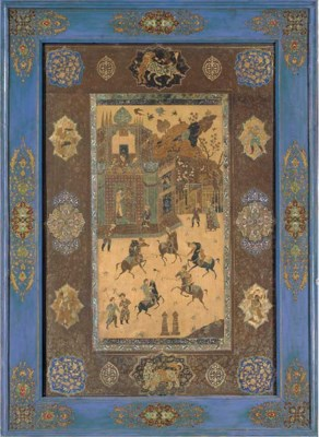 A QAJAR CUT AND PAINTED LEATHE