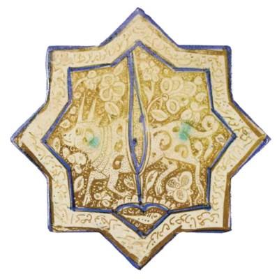 A KASHAN  LUSTRE, COBALT-BLUE