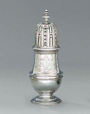 A Queen Anne silver caster