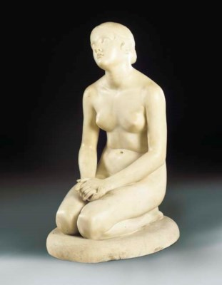 A CARVED MARBLE FIGURE OF FAIT
