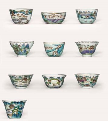 A SET OF TEN FAMILLE ROSE CUPS