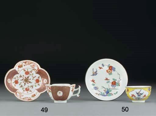 A Meissen Imari quatrefoil tea