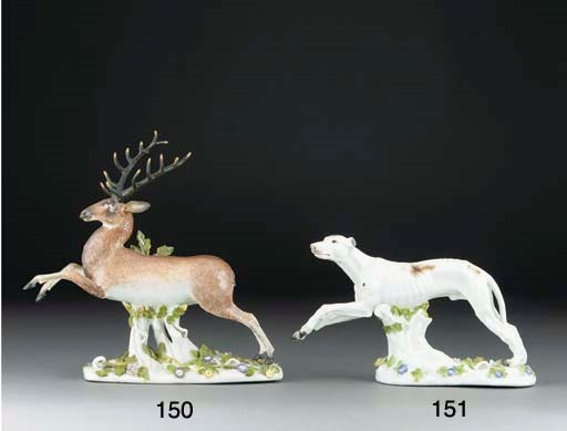 A Meissen model of a leaping s