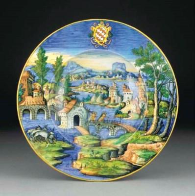 An Urbino large armorial dish
